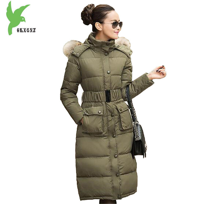 European New Women Winter Down Cotton Lengthened Coats Fashion Print Hooded Fur Collar Thicker Plus Size Slim Jacket OKXGNZ A917
