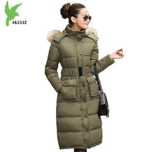 European New Women Winter Down Cotton Lengthened Coats Fashion Print Hooded Fur Collar Thicker Plus Size