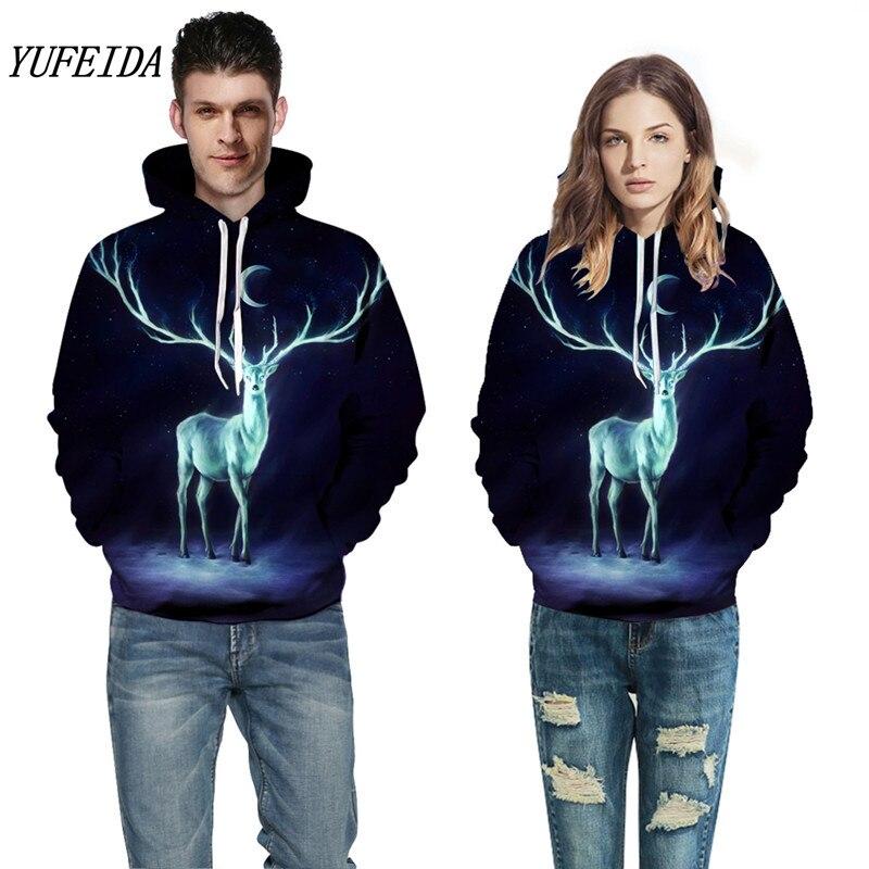 Couples Hoodies Hot Sale Deer Printed Hoodies Men 3D Sweatshirt Quality Plus size Pullover Novelty Streetwear Male Hooded Jacket