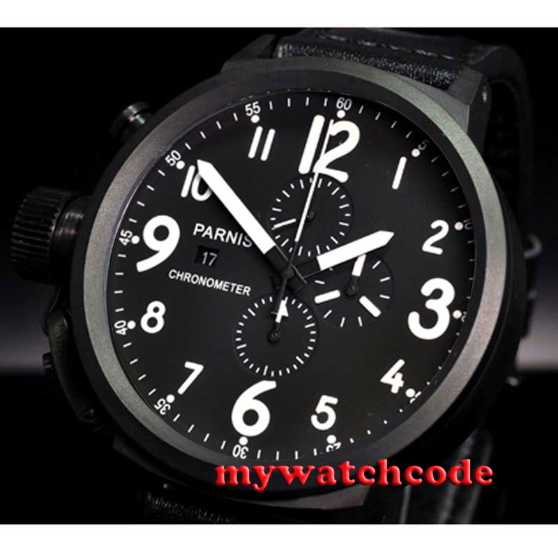 50mm Parnis black dial PVD case full Chronograph Lefty Crown mens Watch P71550mm Parnis black dial PVD case full Chronograph Lefty Crown mens Watch P715
