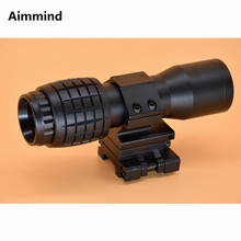 Tactical 4X Magnifier Red Dot Sight Quick Release Side Flip Picatinny 20mm Mount Optics Reflex Rifle Scope Riflescope hunting scope tactical acog 1x32 red dot sight scope optic reflex riflescope with 20mm picatinny rail for rifle m4 m16 airsoft