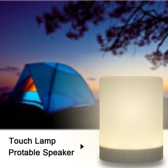 New Inteligente Sem Fio Bluetooth Speaker Música Caixa de Som Mini Noite luz para Casa Toque LED Tablelamp Apoio TF Cartões 6 cores