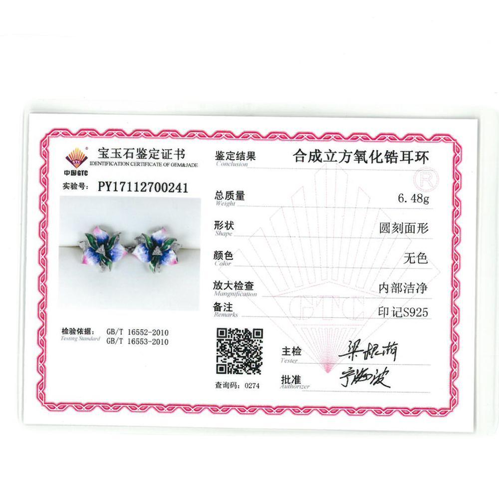 VISTOSO argent boucles d'oreilles pour femme rose fleur Chic boucles d'oreilles de mariage accessoires 925 Sterling argent bijoux fins fait à la main émail - 5