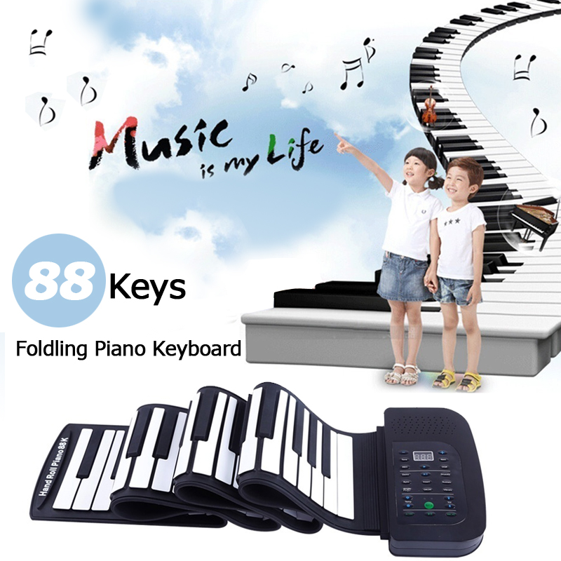 Flexible Portable 88 Keys Keyboard Piano 140 Tones Electronic Folding Roll Up MIDI Piano Built in