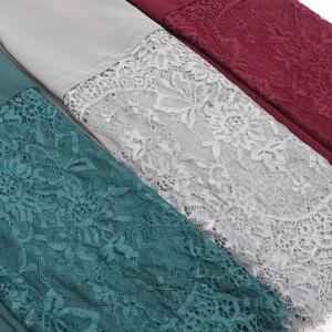 Image 3 - Podwójne krawędzi koronki kwiatowy szyfonu Maxi hidżab muzułmańska chusta pani zwykły szal Warps szalik na głowę emiraty kobiet Turba osłona na szyję