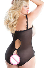 Plus Size Teddy Lingerie Lace Open Crotch and Bra