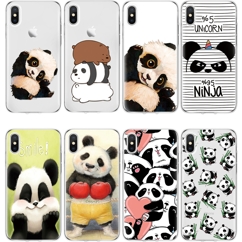 Panda TPU Case For iPhone 5S SE 6 6S 7 8 Plus X XR XS Max For Xiaomi Redmi S2 K20 7 6A Mi A1 A2 9 SE F1 Note 4X 5 6 7 Pro Funda