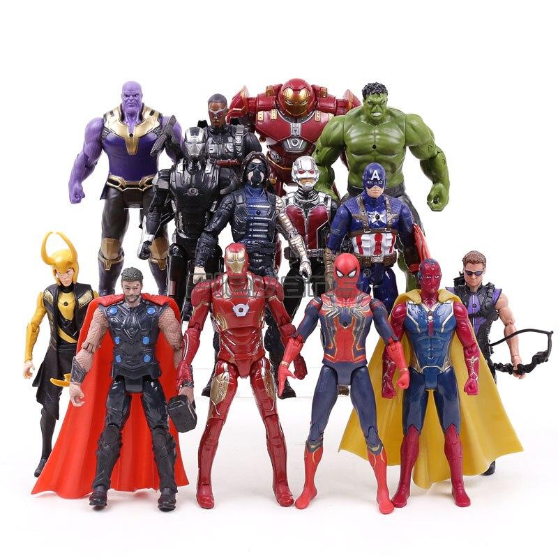 Marvel Avengers 3 Infinity Guerra Thanos Iron Man Capitan America Thor Spiderman Action Figures PVC Bambini Giocattoli Ragazzi Regali 14 pz/set