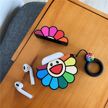 Cute Cartoon For Apple Airpods Case sun Flowers Protective Cover Bluetooth Earphone Fashion Silicone Cases Headset Bags