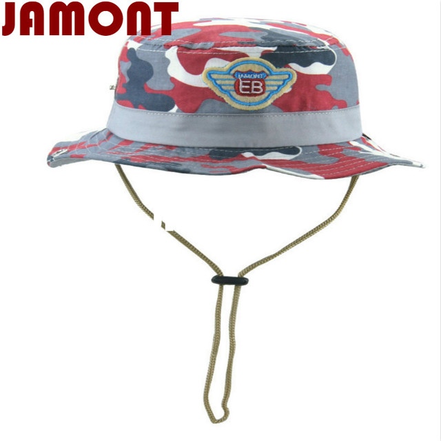 77c381b0890  JAMONT Cotton Camouflage children hat kids summer bucket hat with string  wide brim caom fishing cap for baby girl boy panama