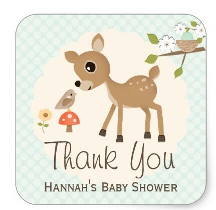 15inch Mint Woodland Deer Baby Shower Thank You Stickers In