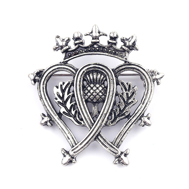 Outlander Brooch Flower Crown Heart Scotland Thistle Scottish Irish Badge  Pins Brooches For Women Men Sword Lion Jewelry Gift f4f15ac6cfd8