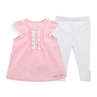 Baby Girl Clothes Summer Korean Edition Children S Clothes Lattices T Shirts And Pants Two Pieces