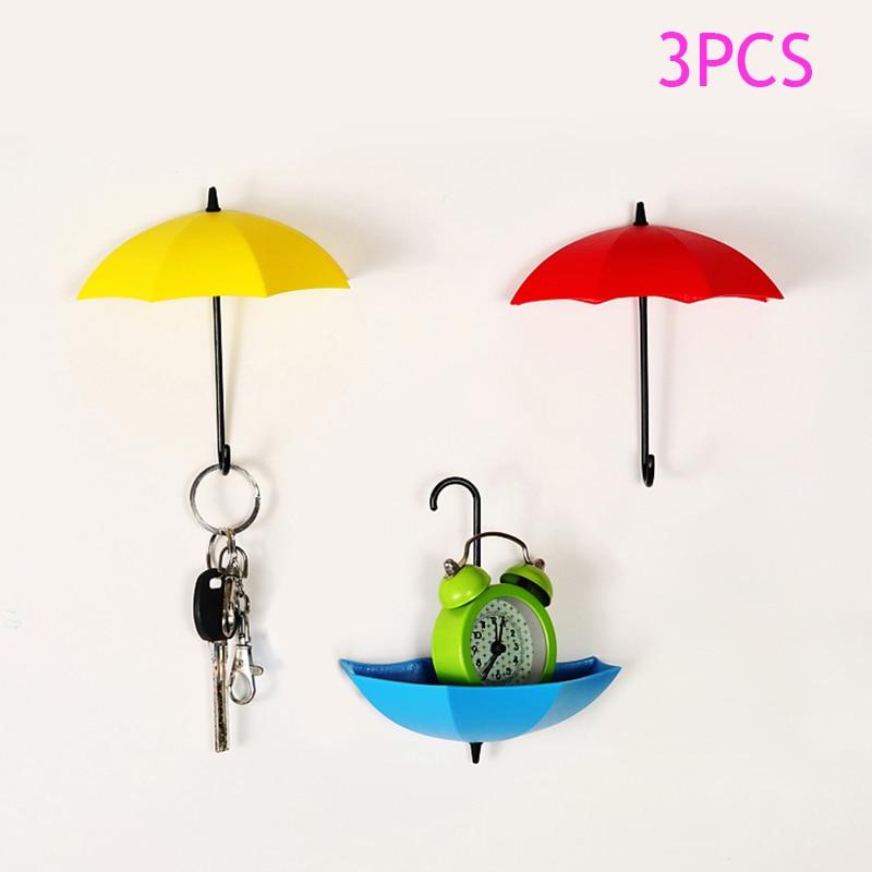 3Pcs/set Colorful Umbrella Wall Hook,Key Hair Pin Decorative Hooks,Umbrella Wall Hooks 88*88mm  Random Color E2S