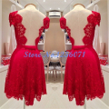 Red Lace Elegant Cocktail Dresses Graceful Ball Gown Cocktail Dress robe den cocktail vestidos de coctel Short Prom Gwon