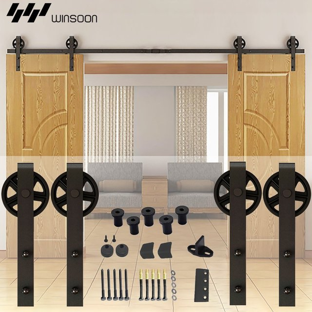 5FT-8.2FT Barn Wood Steel Sliding Double Door Hardware Black Country American Style Door Hardware Closet Set