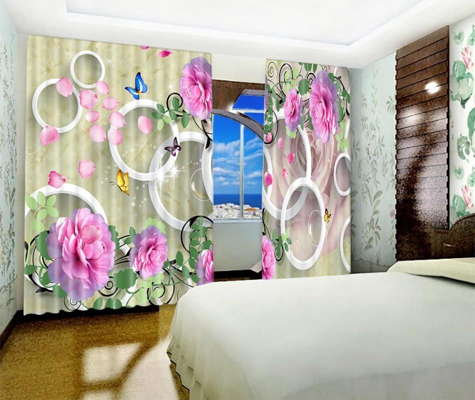 Kwiaty drukuj europa luksusowe 3D zaciemniająca zasłona okienna na pokój dzienny pokój hotelowy gobelin ścienny zasłony Cortinas dekoracyjne w Zasłony od Dom i ogród na  Grupa 2