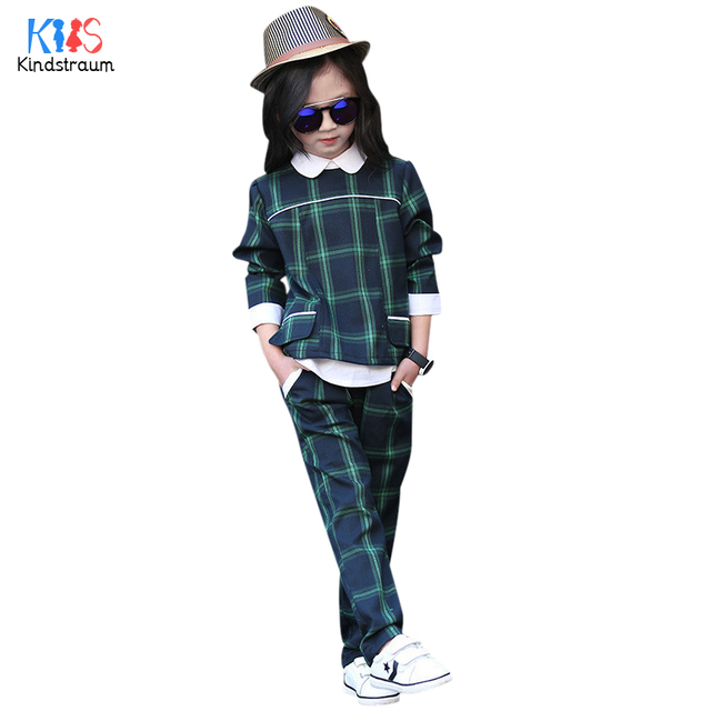 Kindstraum 2017 New Children Plaid Clothing Suits Kids Shirts + Trousers British Style Sets Spring & Autumn School Wear,RC836