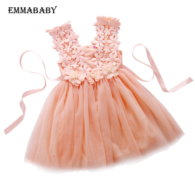 df94f7df2d4 High Quality 2017 XMAS Baby Girl Princess Party Pearl Lace Tulle Flower  Gown Fancy Dress Sundress 2-7 Years