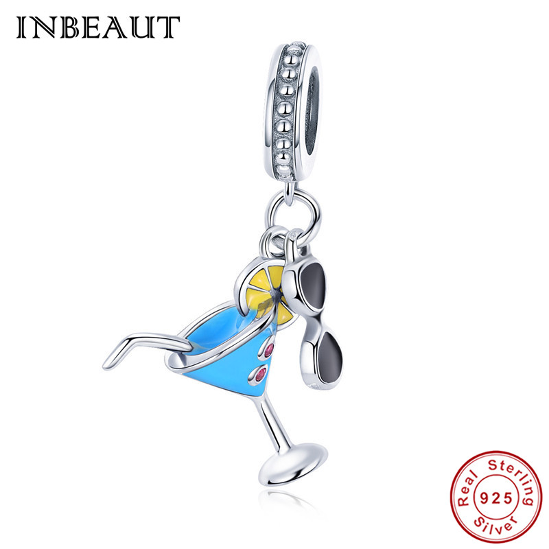 INBEAUT 925 Sterling Silver Summer Fashion Fresh Cool Lemon Drink Cup Black Glasses Pendant Beads fit Pandora Charm Bracelet