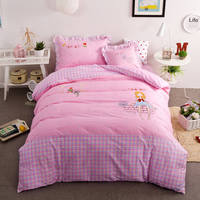 Pink Cartoon Girls Applique Embroidered Bedding Sets Twin Full Queen Size Bedclothes Coverlets Cotton Woven Children's Baby Home