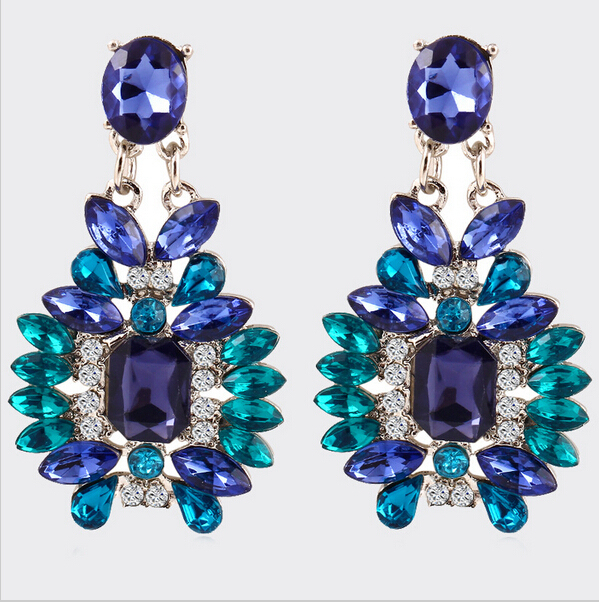F&U Silver Color Earring Jewelry good quality Crystal Multicolor Special Bohemia