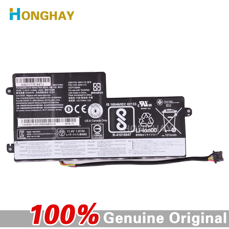 HONGHAY 45N1112 45N1113 original laptop battery for Lenovo Thinkpad X240 X240S X250 X250S T440 T440S T540 45N1108 45N1109 бордр keraben panama zoc glory vison 25x25