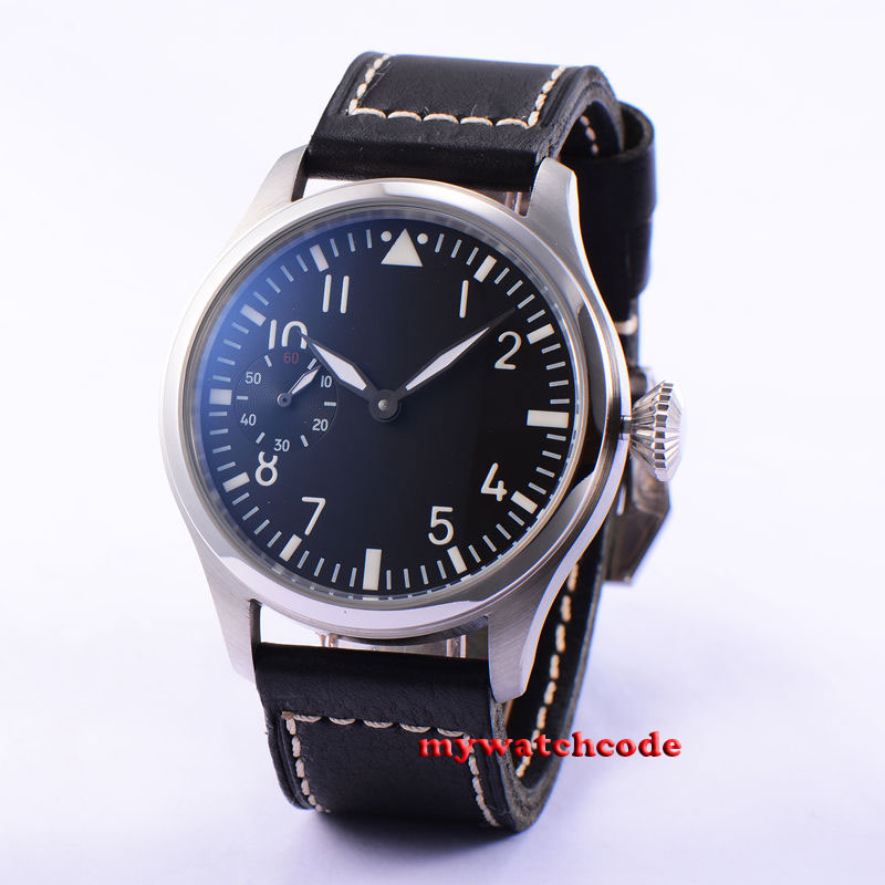 47mm parnis black dial ST 6497 movement hand winding mens watch 9047mm parnis black dial ST 6497 movement hand winding mens watch 90