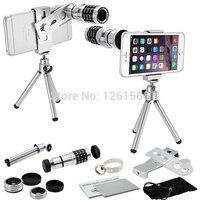 Apple Iphone için X 6 S 7 8 Artı SE/Huawei P 9 8 Lite J5 J Kamera Smartphone 12x Tripod Teleskop + 3 Başar Lensler + Klip Tutucu