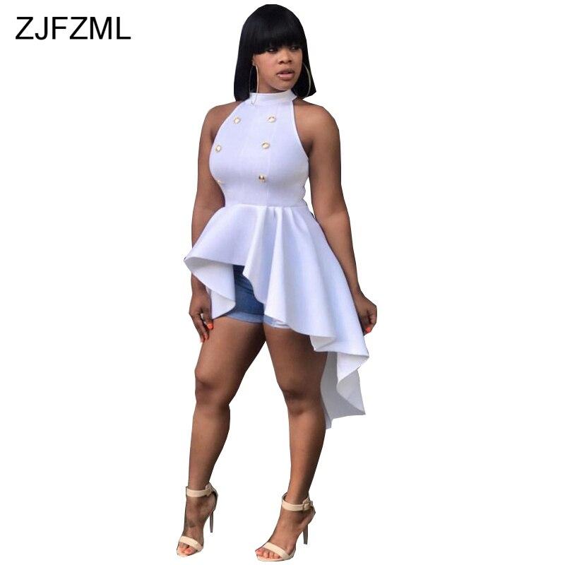ZJFZML 2017 New arrival high fashion white sleeveless bandage dress sexy front short back long dress summer women dress vestidos