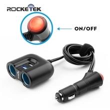 Rocketek USB Автомобильное зарядное устройство переключатель 2 USB 3.1A 2 гнездо прикуривателя, Автомобильное зарядное устройство для IPad iPhone 5S 6S Samsung телефон