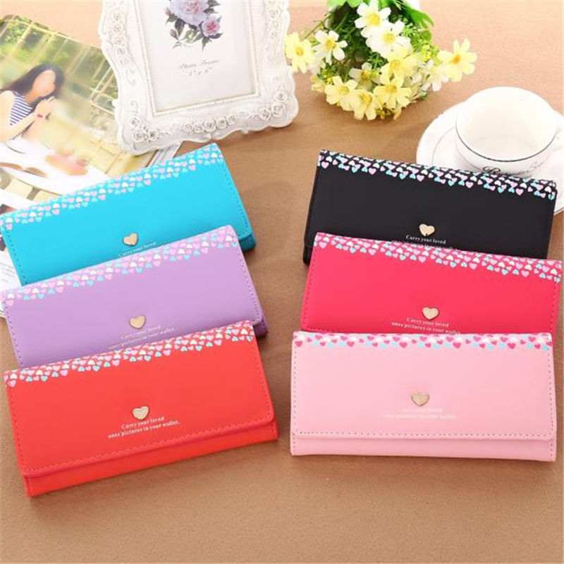 2016 Fashion New Brand Women's Purse Wallets Ladies Clutch Love Heart Pattern Coin Purse Long Wallet Card Holders Female Wallet vel vel 03 06 04 02202