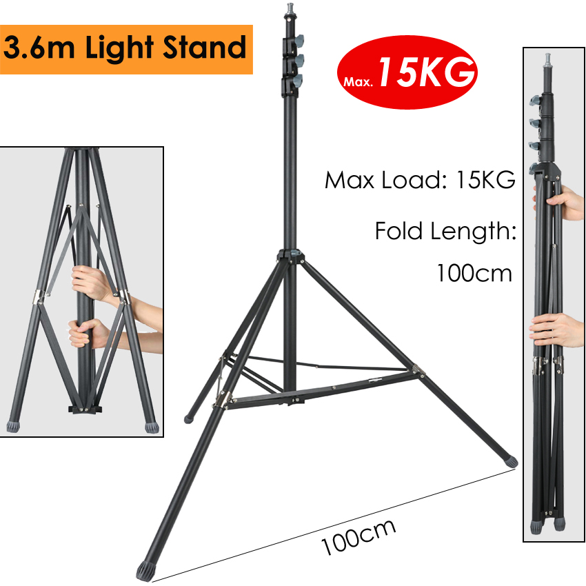 Photo 360cm 3.6M Video Light Stand Max Load 15kg/33lb Heavy Duty Support Stand Tripod for Studio Softbox Reflector Backdrop|Light Stand| |  -
