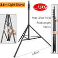Photo 360cm 3.6M Video Light Stand Max Load 15kg/33lb Heavy Duty Support Stand Tripod for Studio Softbox Reflector Backdrop