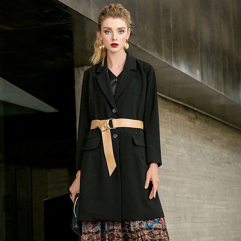 Black turn down collar straight long trench coats 2018 new single breasted full sleeve women autumn trench coats