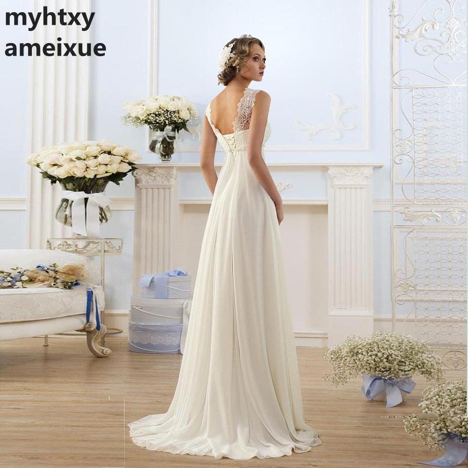 Cheap Wedding Gowns.Cheap Lace Sexy Wedding Dress 2019 Pregnant White Simple Chiffon Bridal Dress Empire Lace Up New Formal Dress Vestido De Noiva