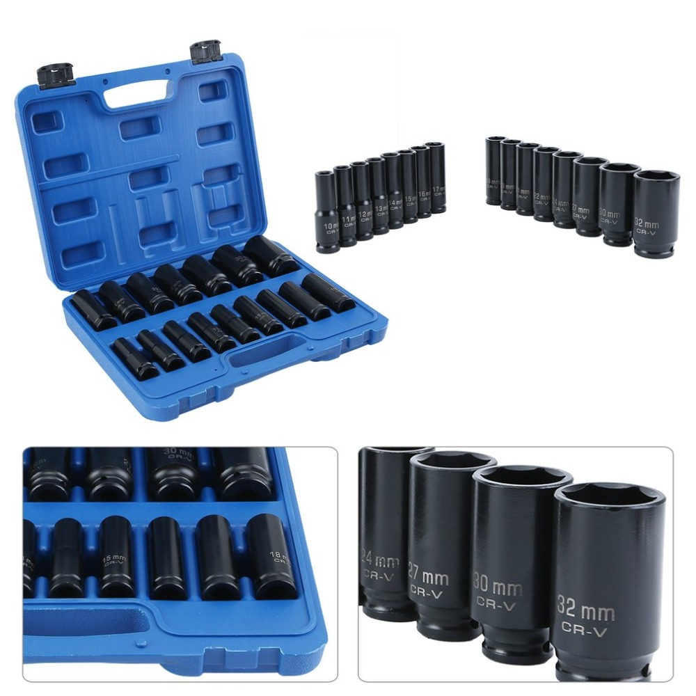 "Box 13 pc 1//2/"" inch Deep Impact Socket Tool Set 10-32mm Metric Garage Workshop"