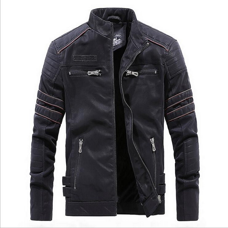 VXO Brand Motorcycle Leather Jackets Men Stand Collar Washed leather jacket Washed Retro Leather Jacket Mens