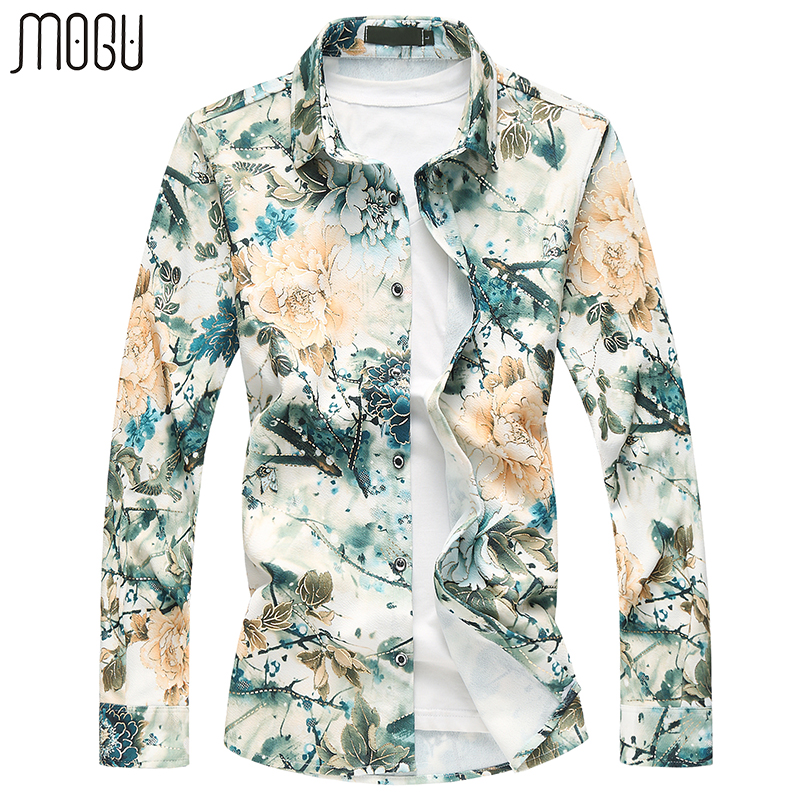 MOGU Long Sleeve Floral Casual Shirts Men 2017 Autumn New Fashion Printed Hawaiian Shirts Slim Fit Asian Size M-7XL Men's Shirts