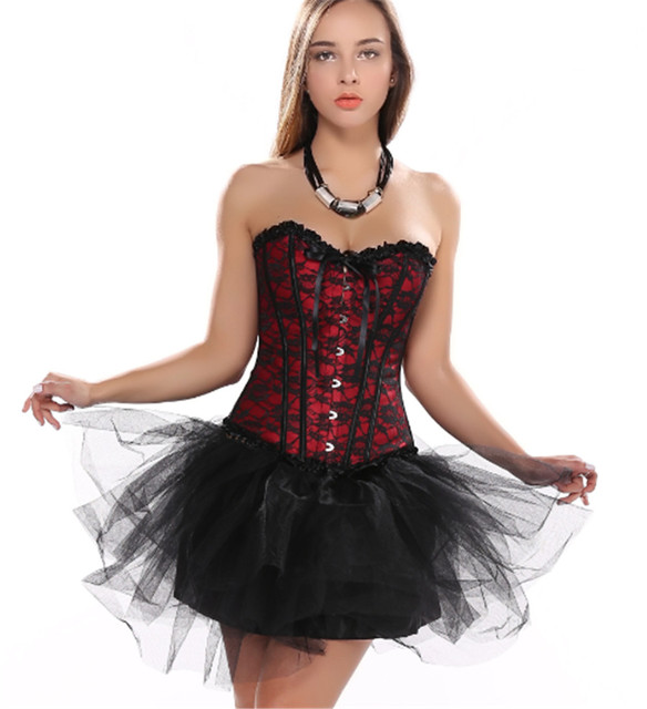 Women's red overlay Sexy Corset Multilayer Black Lace Dress Showgirl Dance Skirt Bodyshaper Bustier Showtime S-2XL