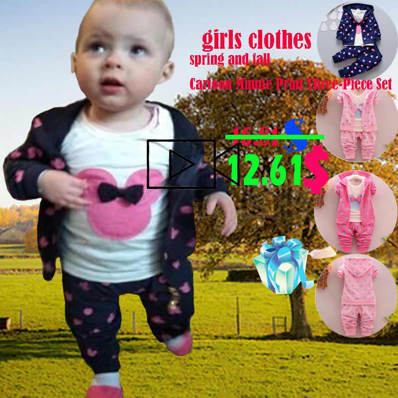 d1f51f24b4bc ... Girls clothes spring and autumn winter children's clothes set stretch  cartoon Minnie print 3pcs toddler 1 ...