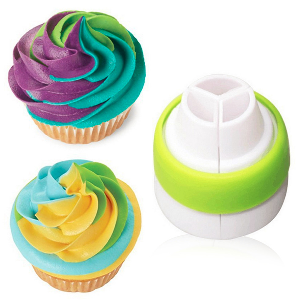 Icing Piping Nozzle Tricolor Converter Pastry Cream Cake Decorating Tools For Cupcake Fondant Cookie 3 Hole Combined Tool in Other Cake Tools from Home Garden