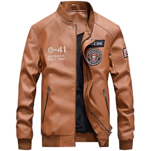 Image 4 - Men Baseball Jacket Embroidered Casual PU Leather Coats Winter Mens Slim Fit Warm Fleece Pilot Military Jackets Stand Collar