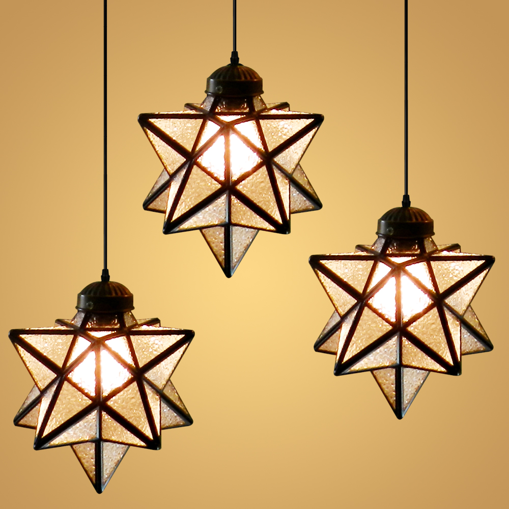 American Loft Star Single Individuality Creativity Pendant Ceiling Lamp Glass Droplight Cafe Coffee Shop Bar Dining-hall vintage loft industrial edison flower glass ceiling lamp droplight pendant hotel hallway store club cafe beside coffee shop