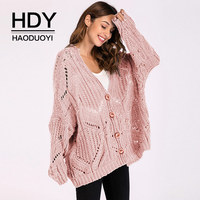 HDY Haoduoyi 2018 Winter Women Sweater Pink Thin Mesh V neck Cardigans Loose Casual Knitted Tops Single Button Open stitch lady