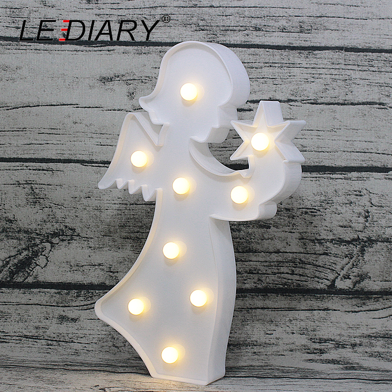 LEDIARY Holy Angle Shape LED Night Light Pure White Decoration Lamp For Christmas Party Coach Bedside Nightlights AA Battery lediary cute dinosaur led night light 3 colors decoration lamp warm white christmas night lights animal bedside lamp for kids