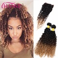 7a Ombre Peruvian Hair 3 Bundles With Lace Closure 3 Tones Ombre Kinky Curly Hair With Closure Cheap Human Hair Weave Bundles
