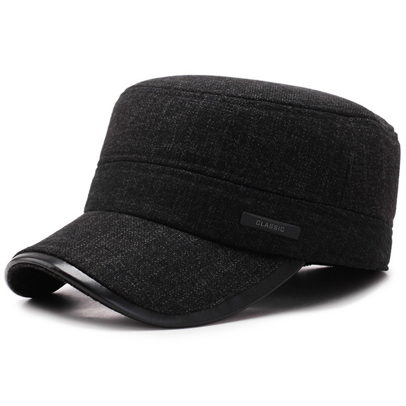 [NORTHWOOD] 2019 Classic Thicker Mens Winter Hat Warm Military Hats For Men Adjustable Flat Top Caps