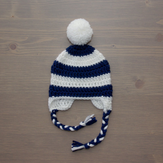 4e717d123 US $55.0 |Navy Blue and White Striped Crochet Baby Hat, Baby Girl Hat,  Newborn Hat, Newborn Photo Prop, Newborn Baby Hat,-in Hats & Caps from  Mother & ...