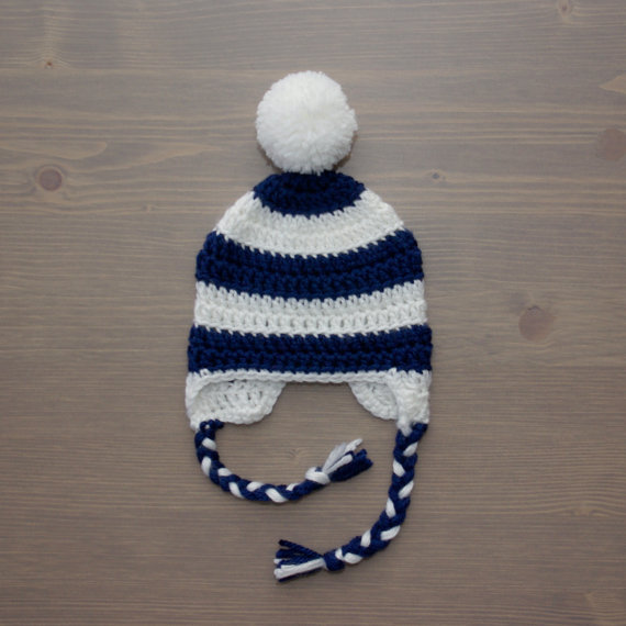 Navy Blue and White Striped Crochet Baby Hat 56b868d99d5